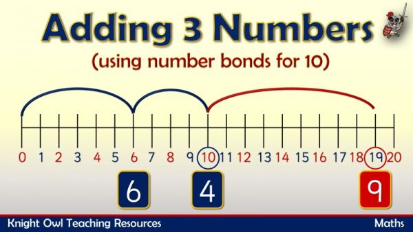 1Adding 3 numbers using number bonds for 10