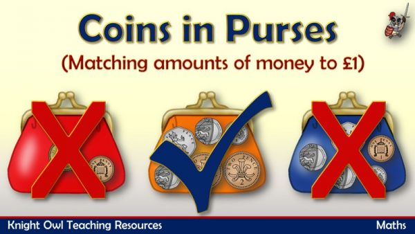1Coins in Purses - matching amounts of money to £1