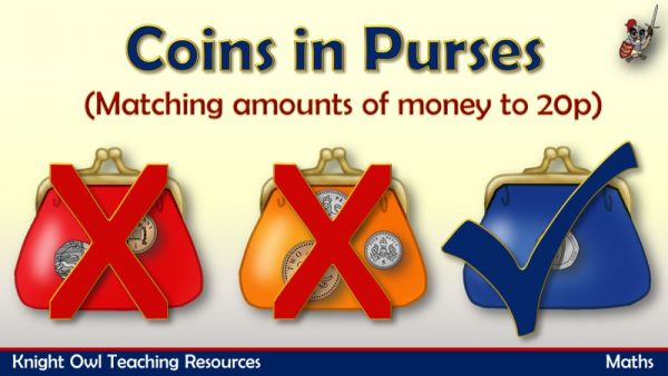 1Coins in Purses - matching amounts of money to 20p