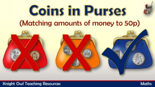 1Coins in Purses - matching amounts of money to 50p