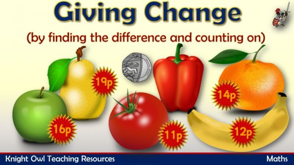 1Giving change by finding the difference and counting on