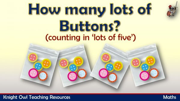 1How many lots of buttons - counting in lots of 5