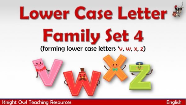 1Lower Case Letter Family - Set 4 (v, w, x, z)