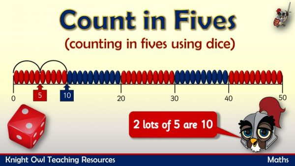 Count in fives using dice1