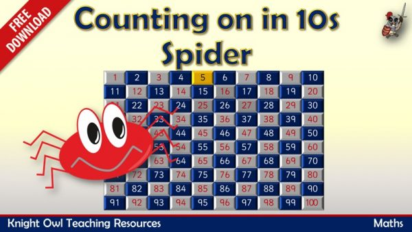 Counting in 10s Spider - counting in 10s from any number