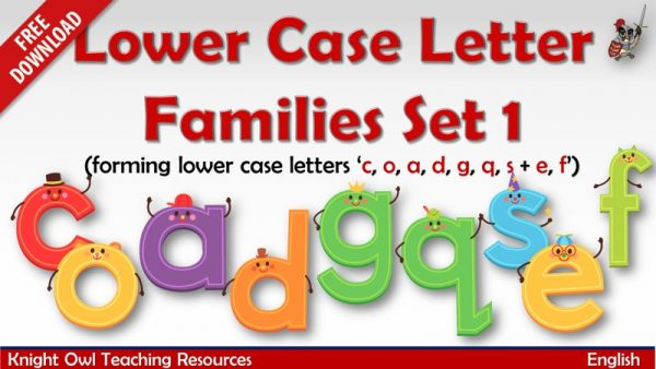 Lower Case Letter Family - Set 1 (c, o, a, d, g, q, s)freebie
