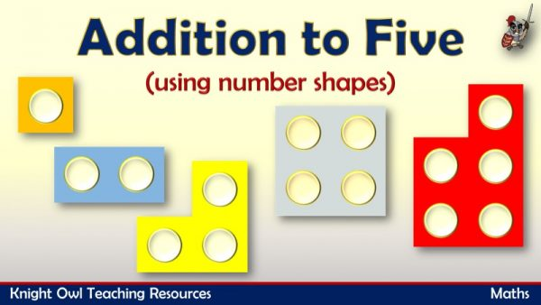 Addition to 5 using number shapes 1