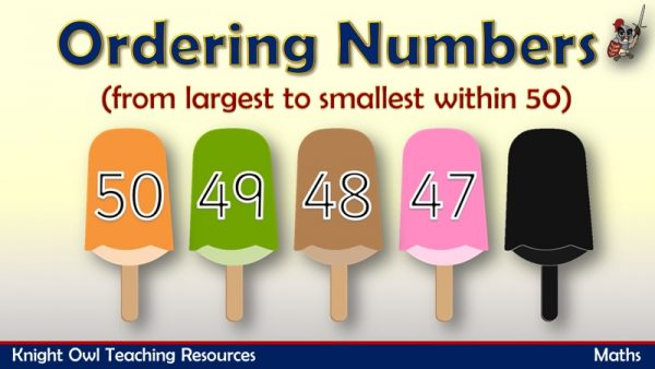 Ordering Numbers from largest to smallest within 50 1