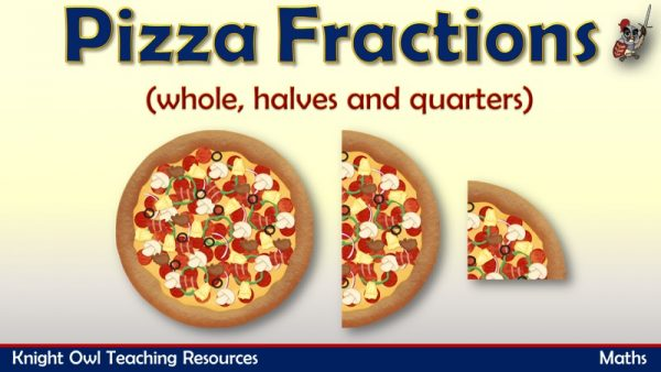 Pizza Fractions - whole, halves and quarters 1