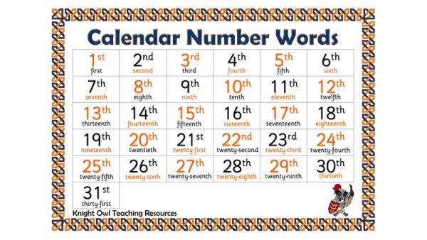 Calendar Number Words