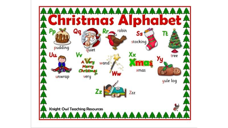 Christmas Alphabet.Christmas Alphabet Word Mat